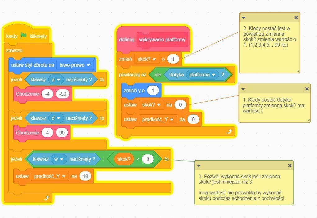 program na skakanie postacią w Scratch gry platformowe