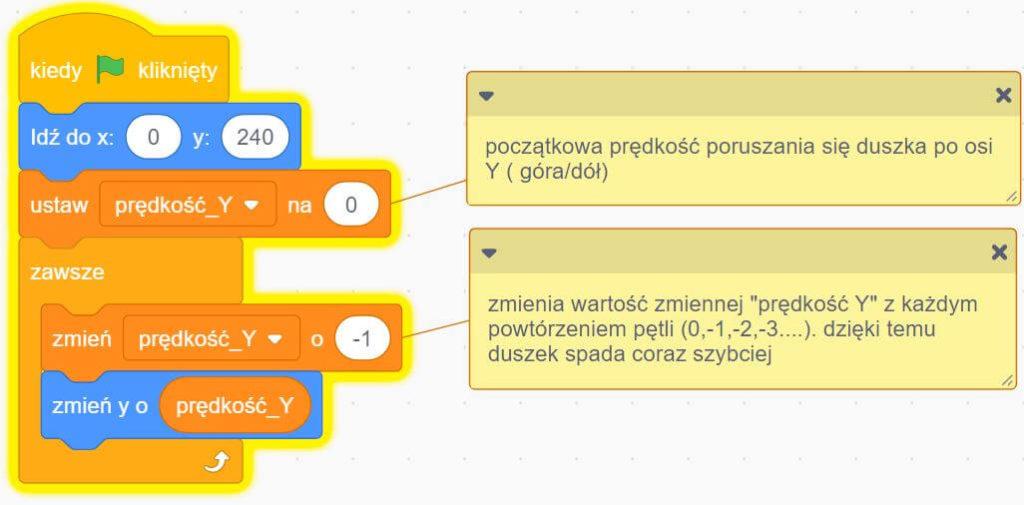 program na grawitację w scratch przykład 2