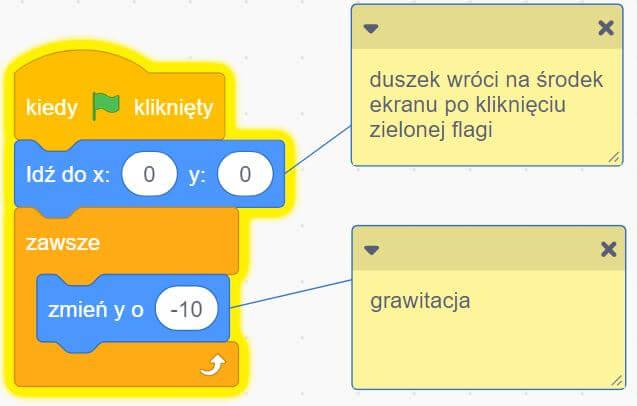 program na grawitację w scratch przykład 1