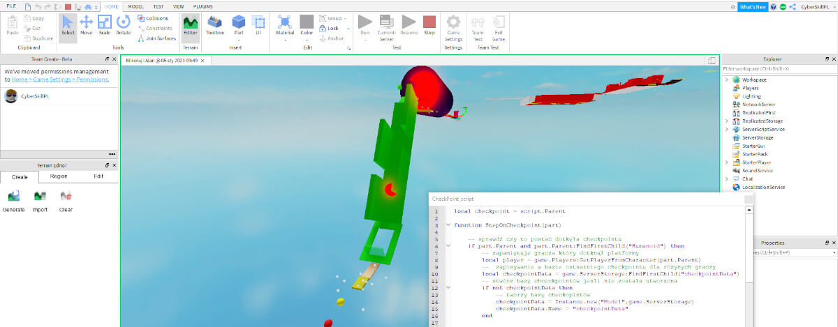 kurs roblox studio screen